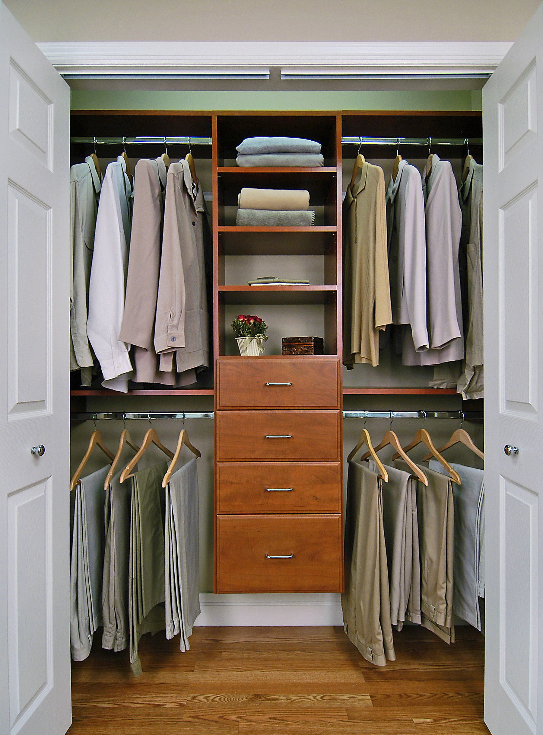 Cherry Reach In Closet Features Include Double Hanging And Standard Drawer Unit
