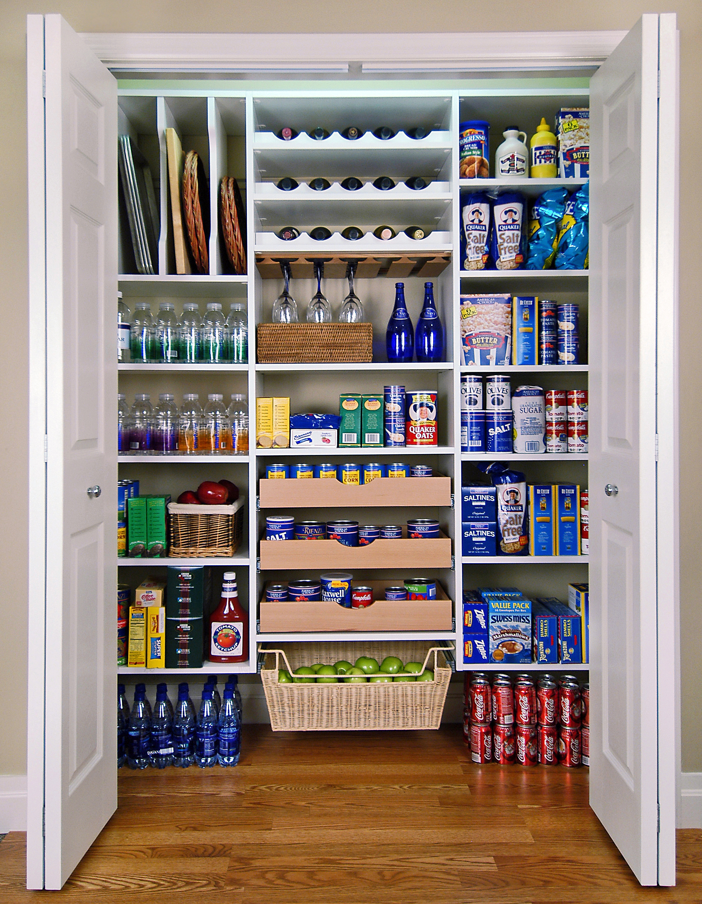 White Walk In Pantry Features Include Regular Shelving Slide Out Baskets Drawers And Corner